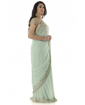 Ranas Pista Green Saree