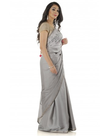 Ranas Grey Shaded Silk Saree