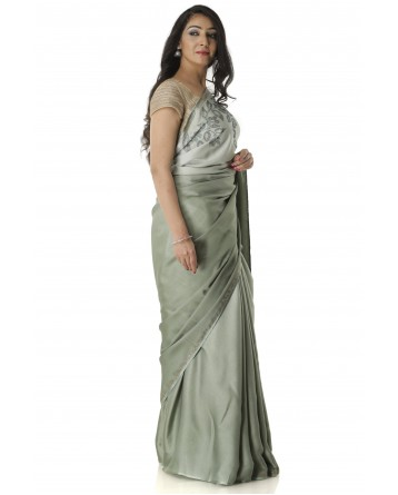 Ranas Pista Green Shaded Silk Saree