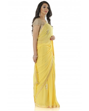 Ranas Yellow Georgette Saree