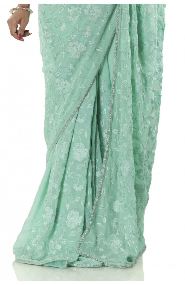 Ranas Sea Green Georgette Saree