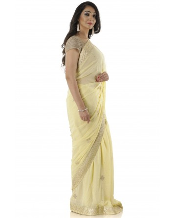 Ranas Pure Georgette Pittan Work Saree