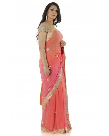 Ranas Peach Shaded Pure Georgette Saree