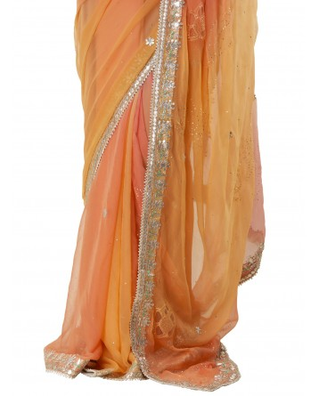 Ranas Peach & Pink Shaded Saree