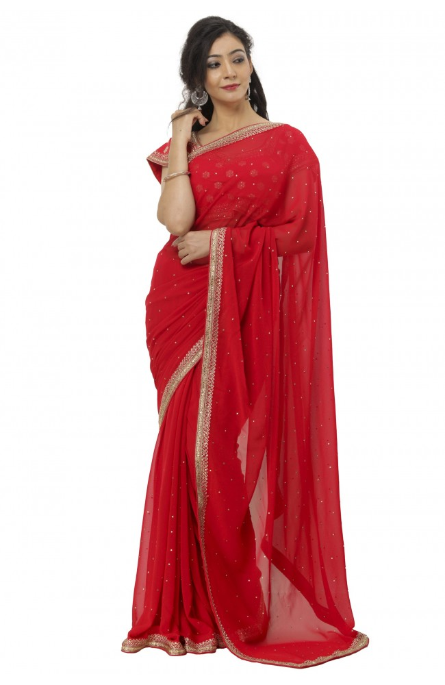 Ranas Red Faux Georgette Saree
