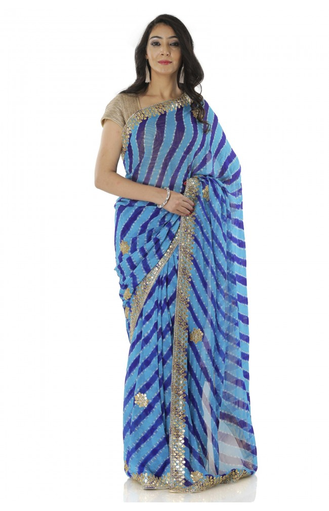 Ranas Purple & Blue Leheriya Saree