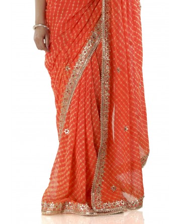 Ranas Orange Mothda Gotta Patti Saree