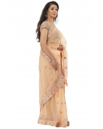 Ranas Peach Color Saree