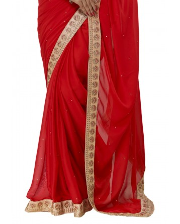 Ranas Red Faux Chinon Saree