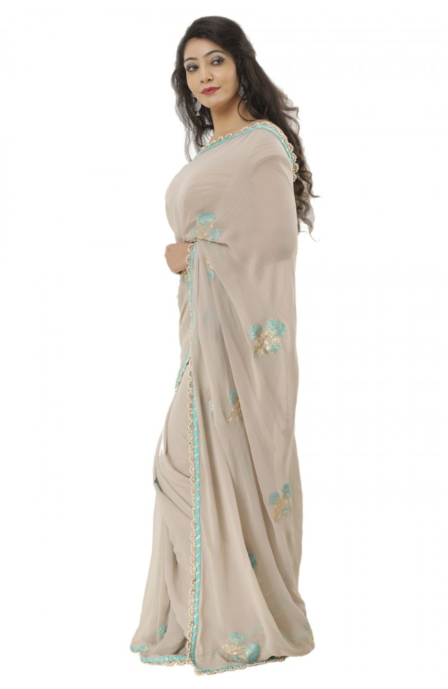 Ranas Georgette Pittan Work Saree