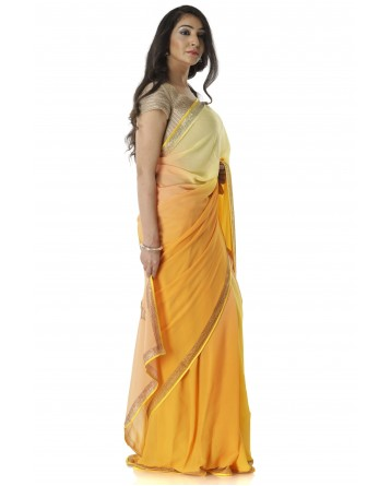 Ranas Yellow & Peach Shaded Saree