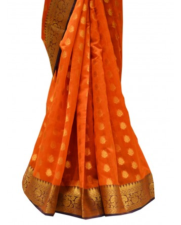 Ranas Orange color art chanderi Saree