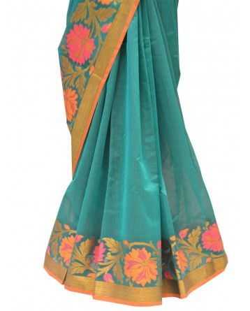 Ranas Green art chanderi saree