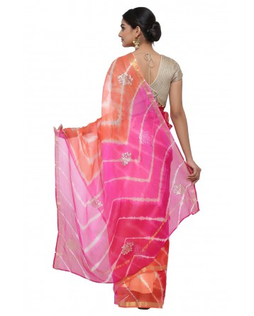 Ranas Pink Orange Kota Silk Leheriya Saree