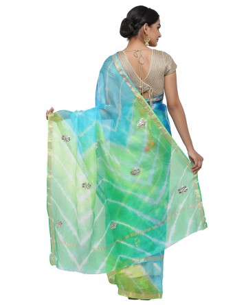 Ranas Green & Blue Leheriya Saree