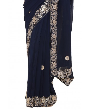 Ranas Blue Georgette Saree