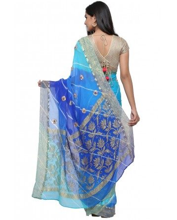 Ranas Pure chiffon Blue Leheriya Saree