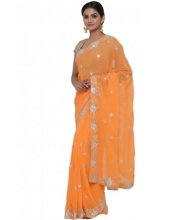 Ranas Orange Color Faux Georgette