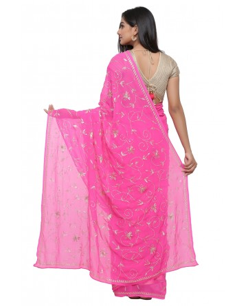 Ranas Pink Color Pure Georgette Saree