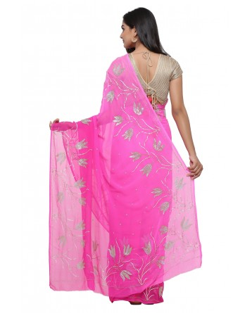 Ranas Pink Shaded Pure Chiffon Saree
