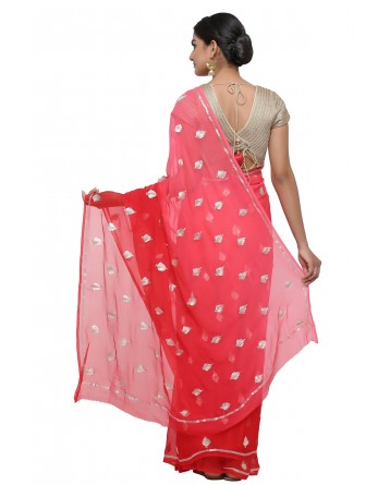 Ranas Red Shaded Pure Chiffon Saree