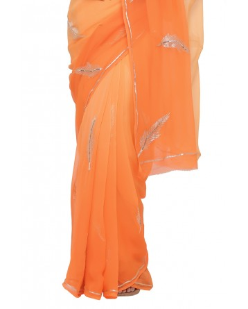Ranas Orange Shaded Pure Chiffon Saree