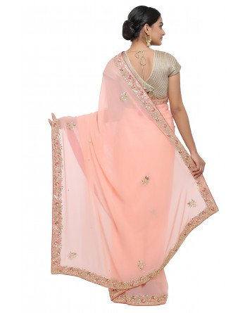 Ranas Peach Color Gota Patti Saree