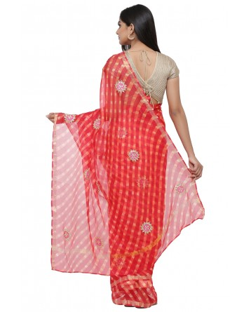 Ranas Red & Orange Leheriya Saree