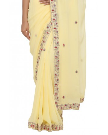 Ranas Yellow Color Georgette Saree