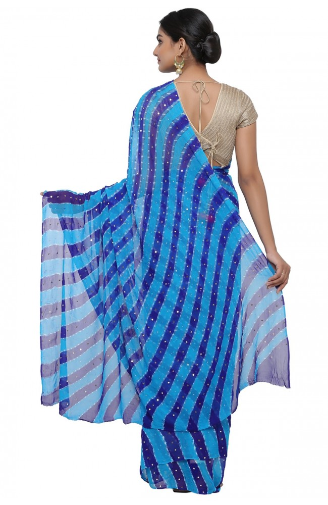 Ranas Blue & Royal Blue Leheriya Saree