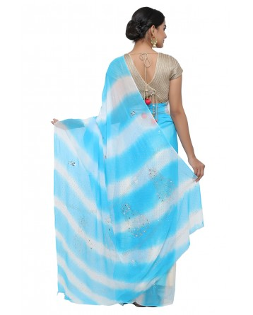 Ranas White & Sky Blue Leheriya Saree