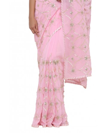 Ranas Light Pink Gota Patti Saree