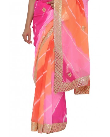 Ranas Pink & Orange Leheriya Saree