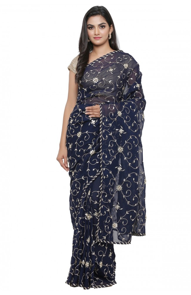 Ranas Blue Georgette Gotta Patti Saree