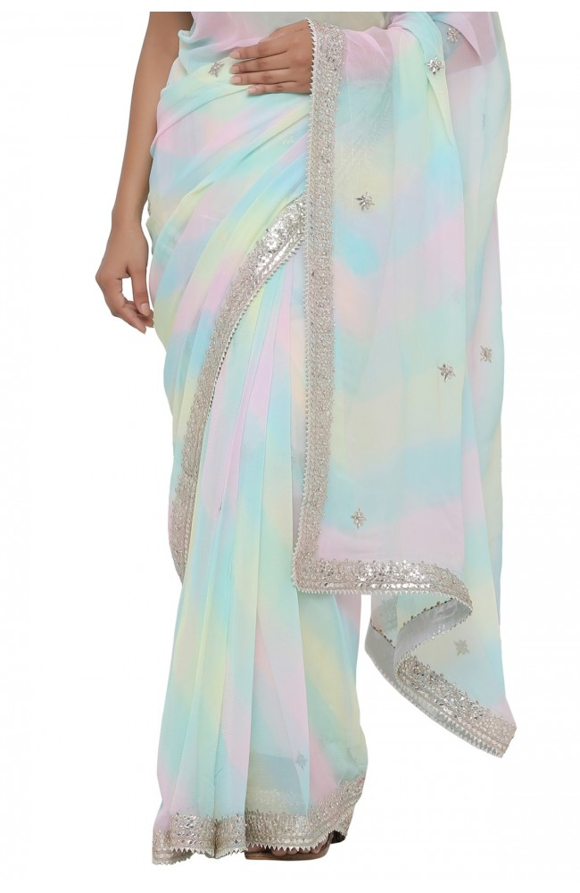 Ranas Multi Color Leheriya Saree
