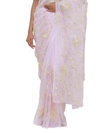 Ranas Mauve Color Faux Chiffon Saree