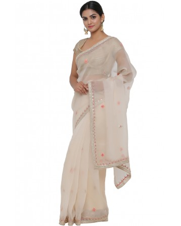 Ranas Beige Color Organza Saree