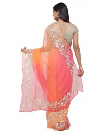 Ranas Orange & Peach Faux Chiffon Saree