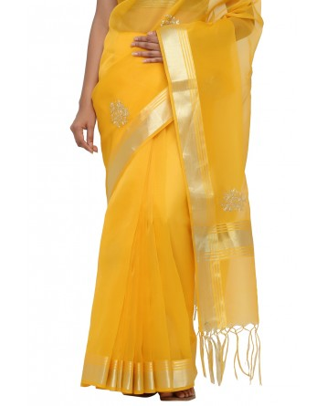 Ranas Faux Chanderi Yellow Color Saree