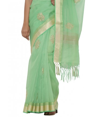Ranas Faux Chanderi Green Saree
