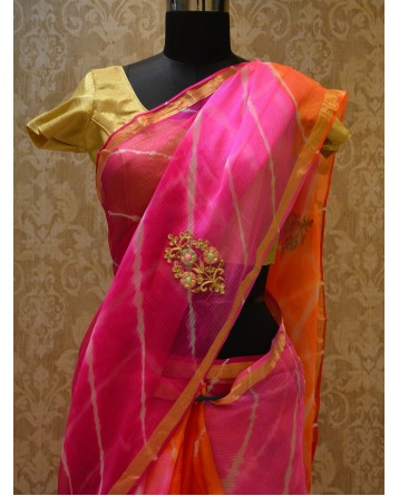 Ranas Kota SIlk orange Pink Leheriya Saree