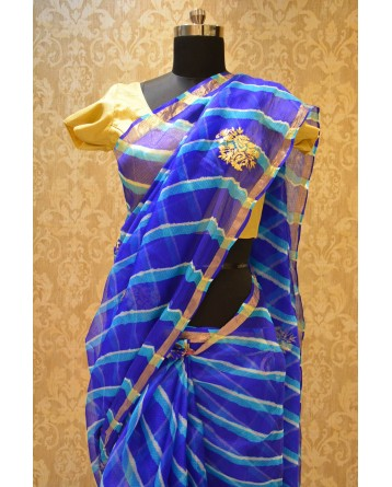 Ranas Kota Silk Blue Leheriya Saree