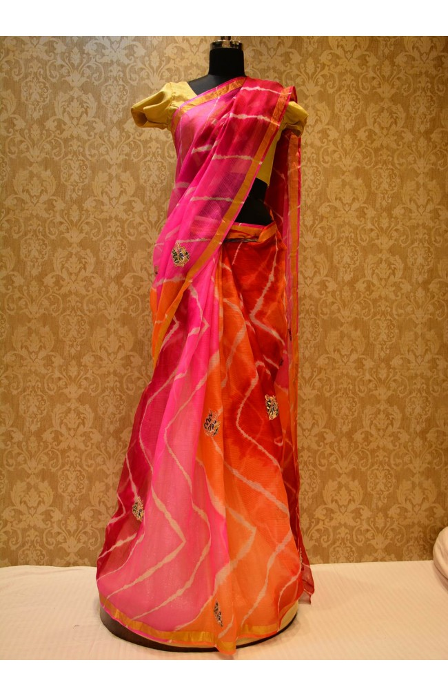 Ranas Kota Silk Red & Orange Leheriya Saree