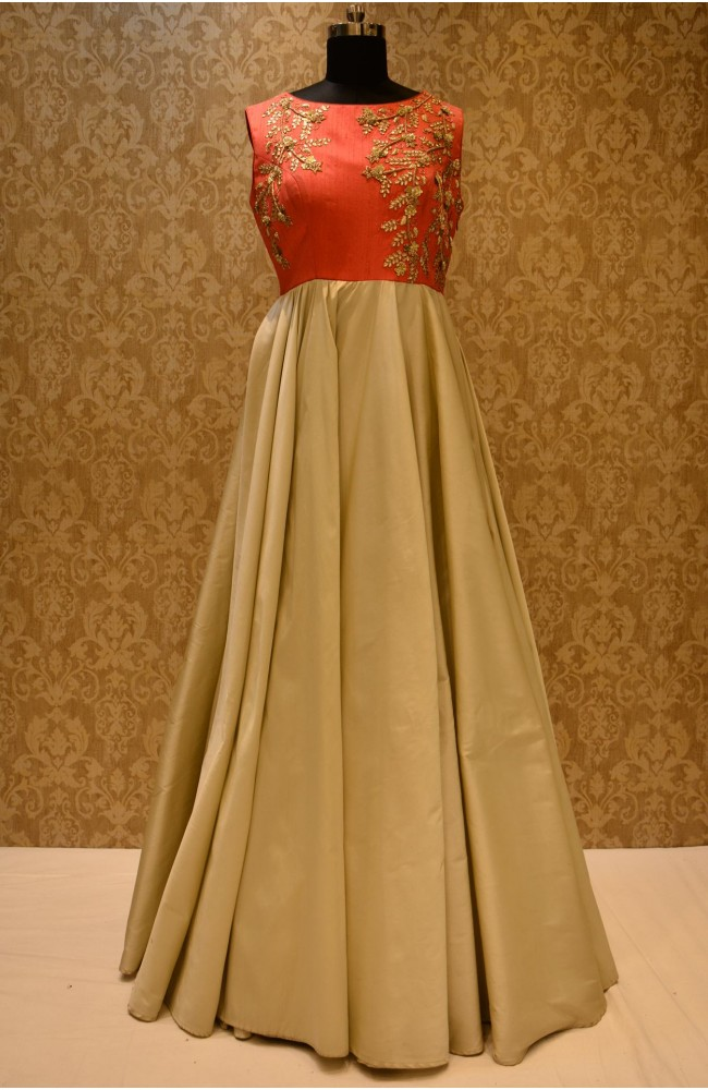 Ranas Red & Cream Color Gown