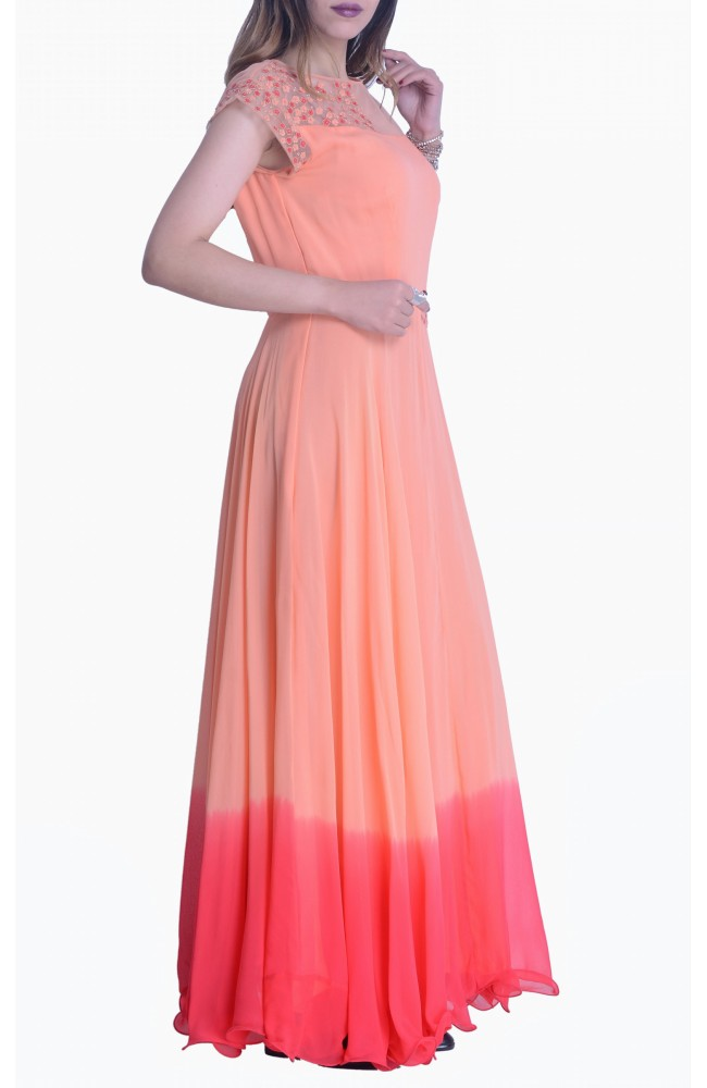 Peach & Red Shaded Gown