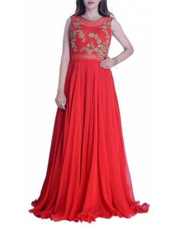 Faux Georgette Red Gown