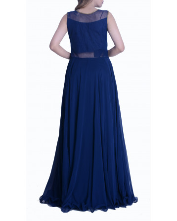 Faux Georgette Blue Gown