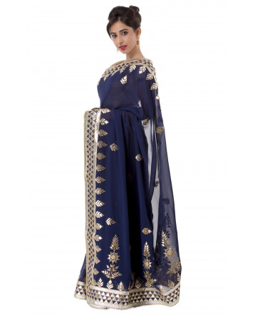 Ranas Blue Color Gota Patti Saree