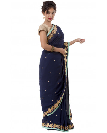 Ranas Blue Color Faux Georgette Saree