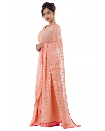 Ranas Peach Faux Georgette Saree